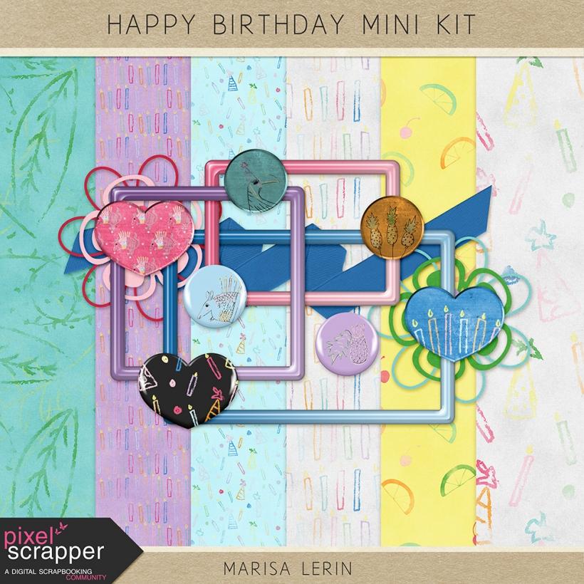 Happy Birthday Mini Kit birthday party tropical orange yellow green blue purple pink black