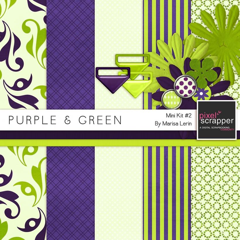 Purple & Green Mini Kit #2 flowers brads papers ribbons clips green purple
