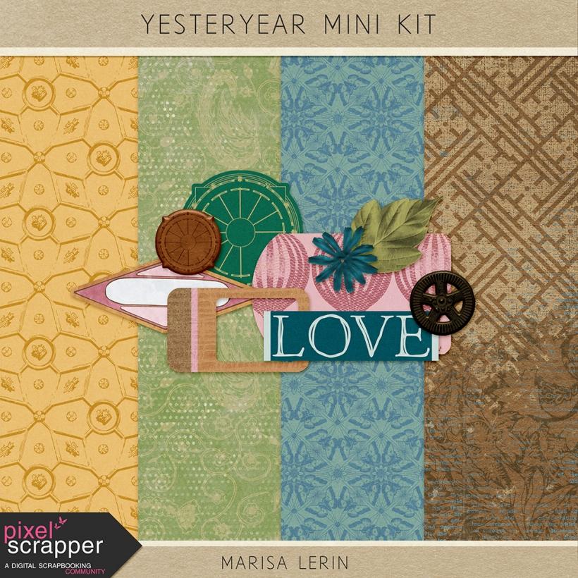 Yesteryear Mini Kit vintage ephemera steam punk heritage geneaology green teal blue brown