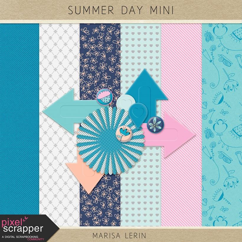 Summer Day Mini Kit summer beach pool swim relax vacation spa peach teal aqua blue navy pink white black