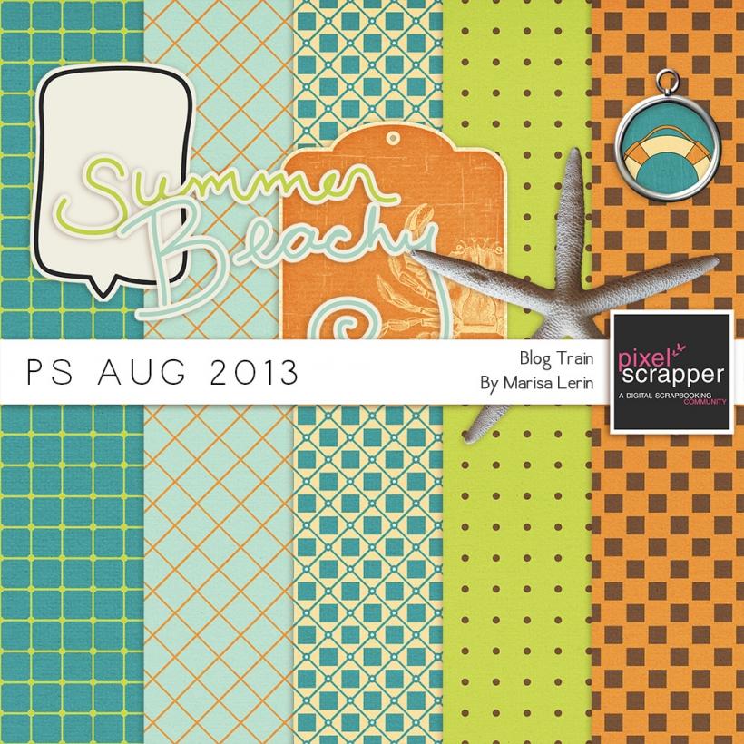 PS Aug 2013 Blog Train Mini Kit ocean summer beach blue orange green brown