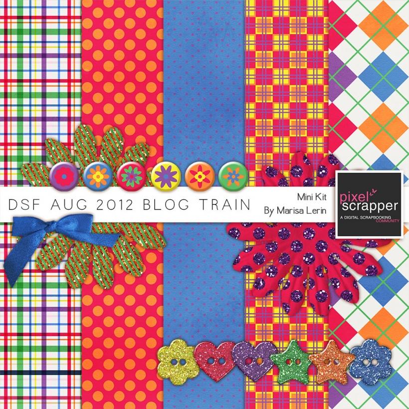 DSF August 2012 Blog Train Mini Kit bright glitter pink orange blue green white yellow