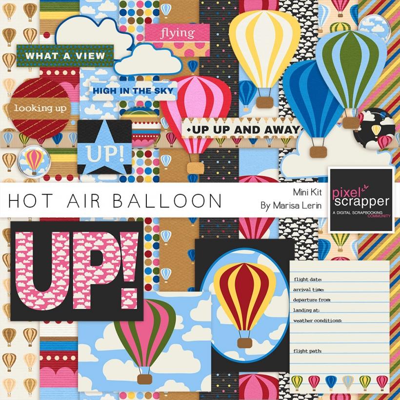 Hot Air Balloon Mini Kit hot air balloon travel blue brown green yellow pink red black white