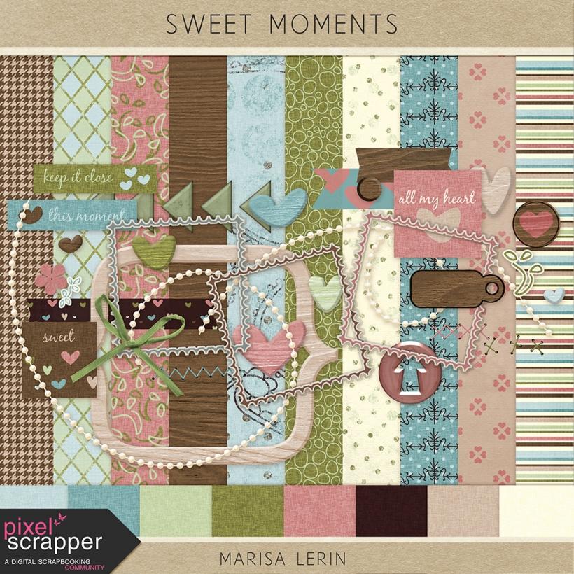 Sweet Moments Mini Kit hearts wood pink brown green blue