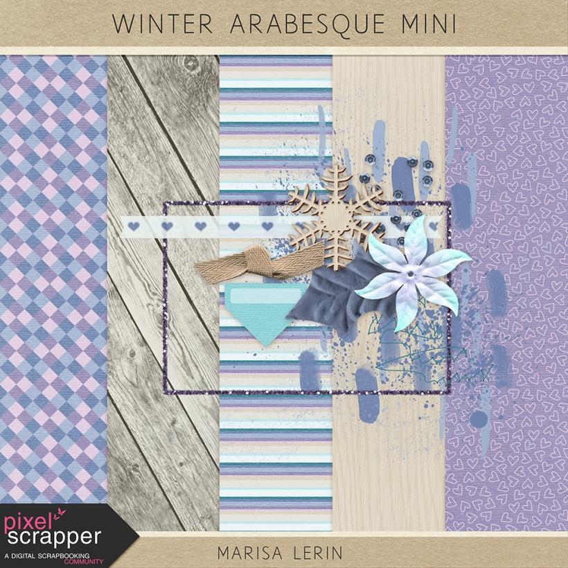 Winter Arabesque Mini Kit winter snow teal purple pink white black tan