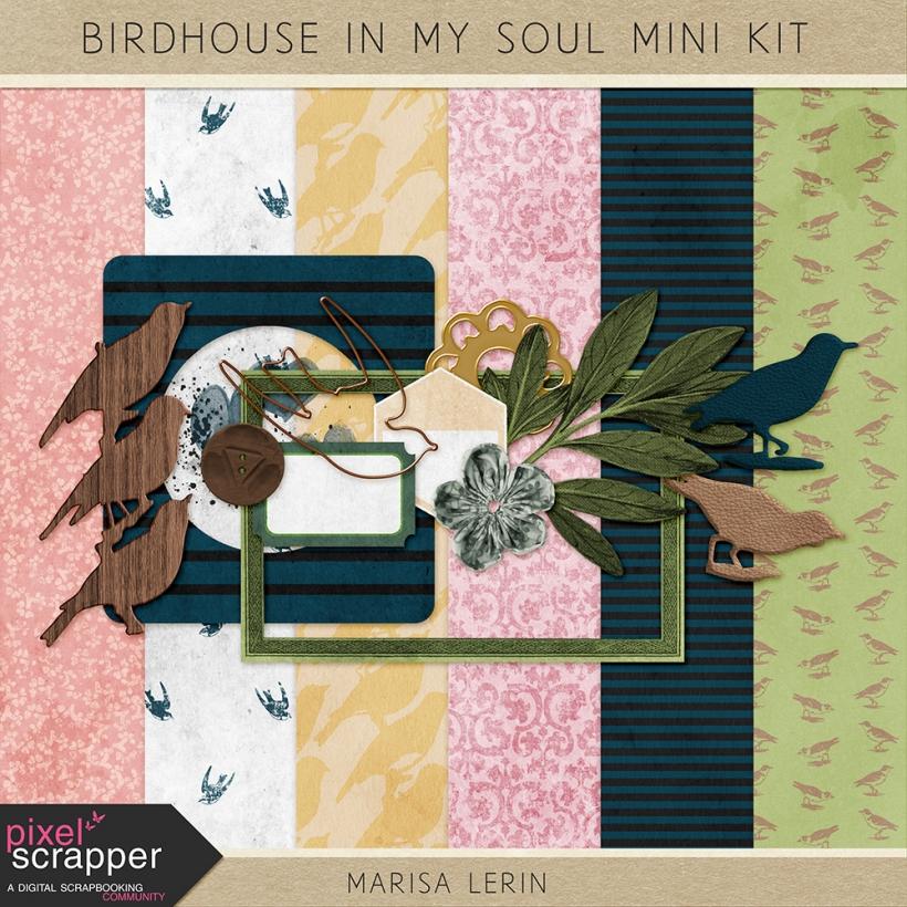 Birdhouse in My Soul Mini Kit spring birds yellow green navy pink white black