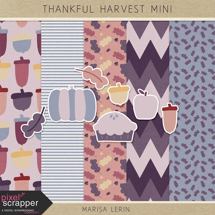 Thankful Harvest Mini Kit thankful harvest thanksgiving fall red blue purple pink tan